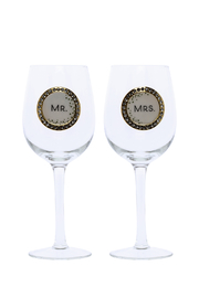 DEMDACO Mr Mrs Wine Glass - Product Mini Image