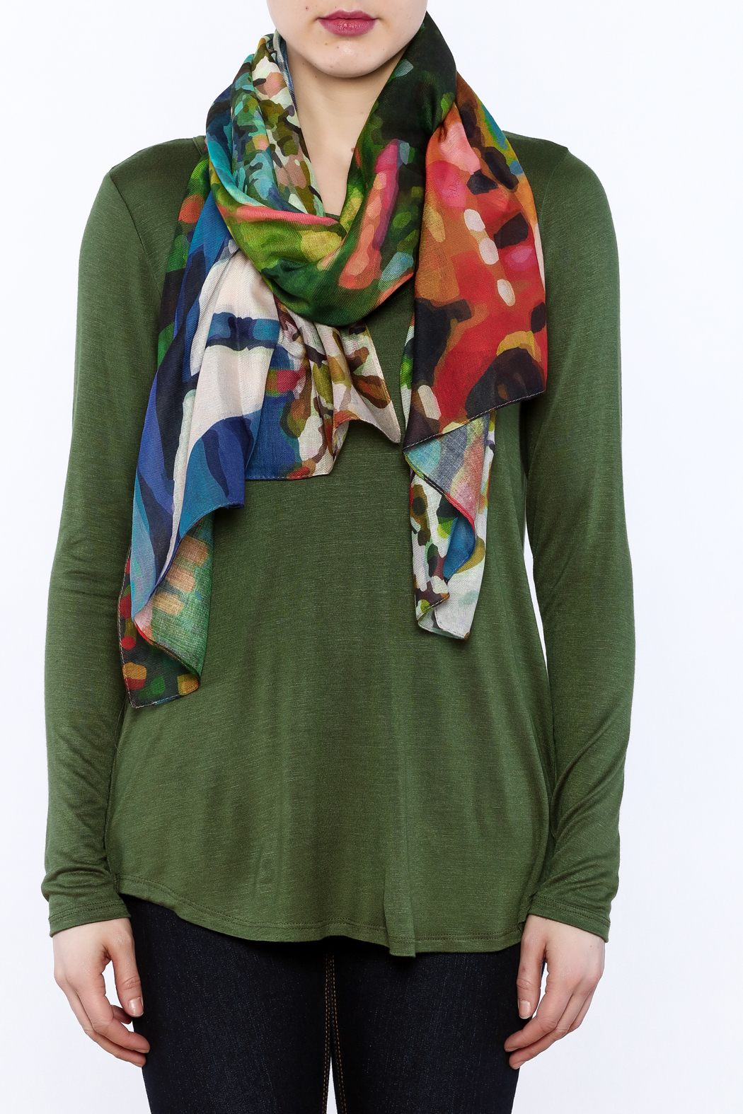 DEMDACO Colorful Rectangle Scarf - Front Full Image