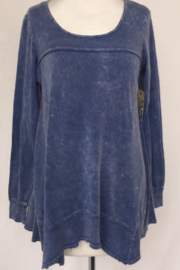 T Party Denim Blue Long Sleeve Flared Top - Front cropped