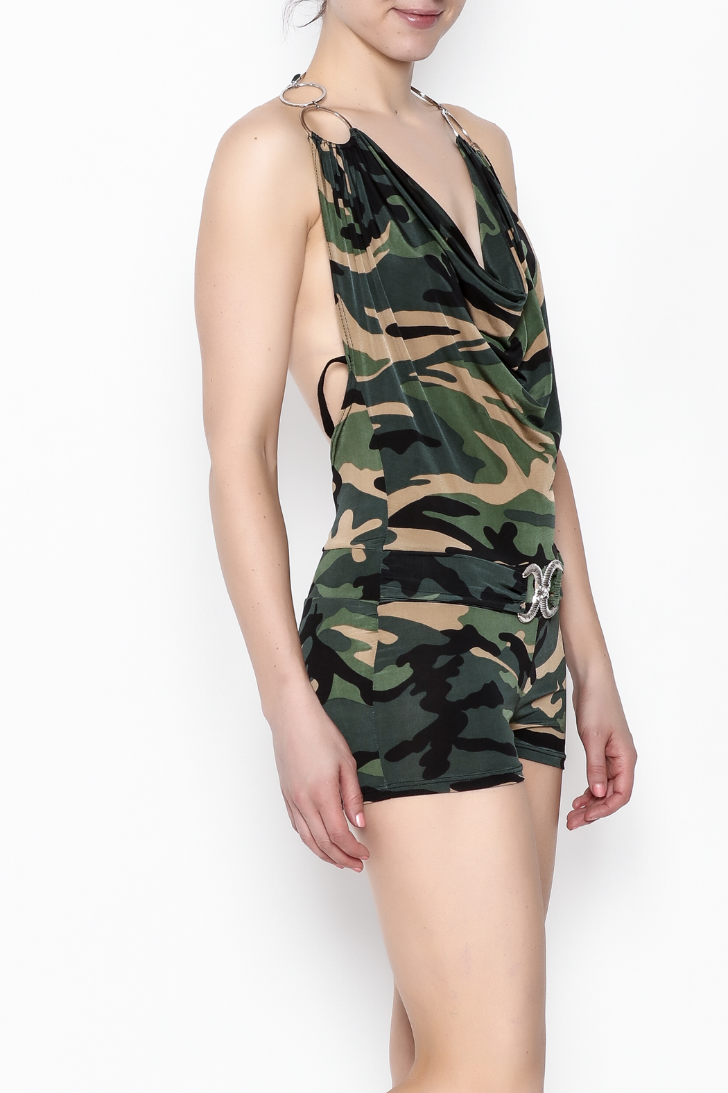 demore Camofluage Romper - Front Cropped Image