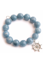 Powerbeads by Jen Denim Agate with Silver Ships Wheel - Product Mini Image