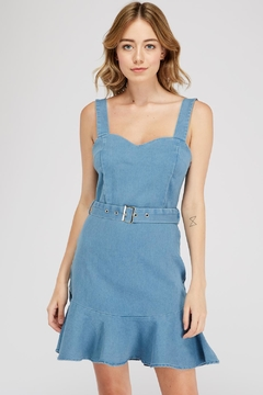 Shoptiques Product: Denim Belted Dress