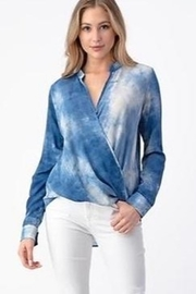 Olivia Graye Denim Blue Cross Over Snap Front Top - Front cropped