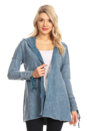 T Party Denim Blue Knit Jacket with Hood - Product Mini Image