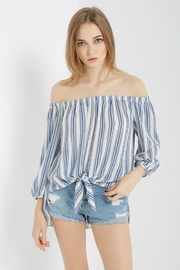 Soprano Denim-Blues Stripe Top - Product Mini Image