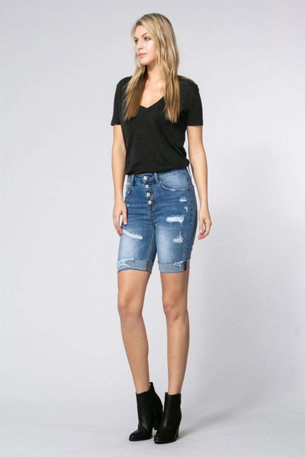 Klique B Denim Burmuda Shorts - Front Full Image