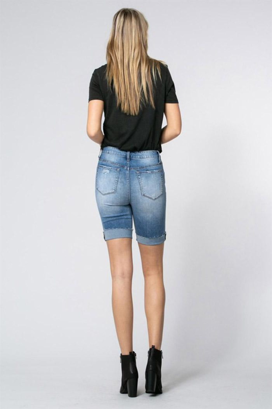 Klique B Denim Burmuda Shorts - Side Cropped Image