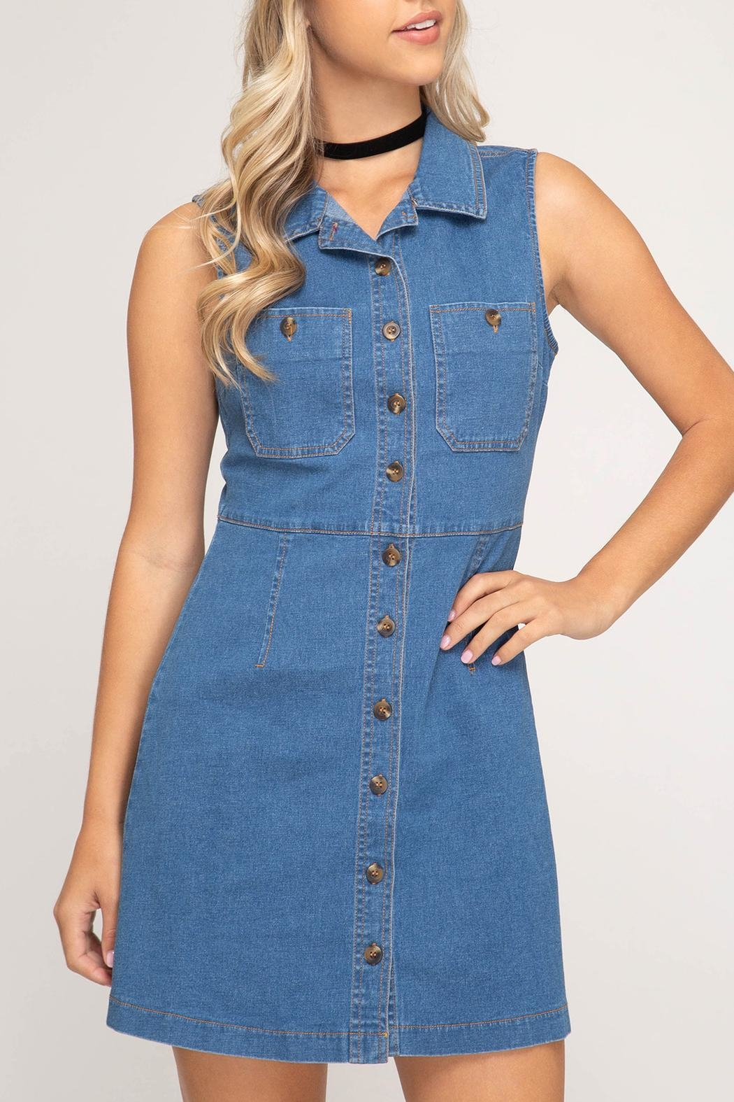 She + Sky Denim Button-Front Dress - Main Image