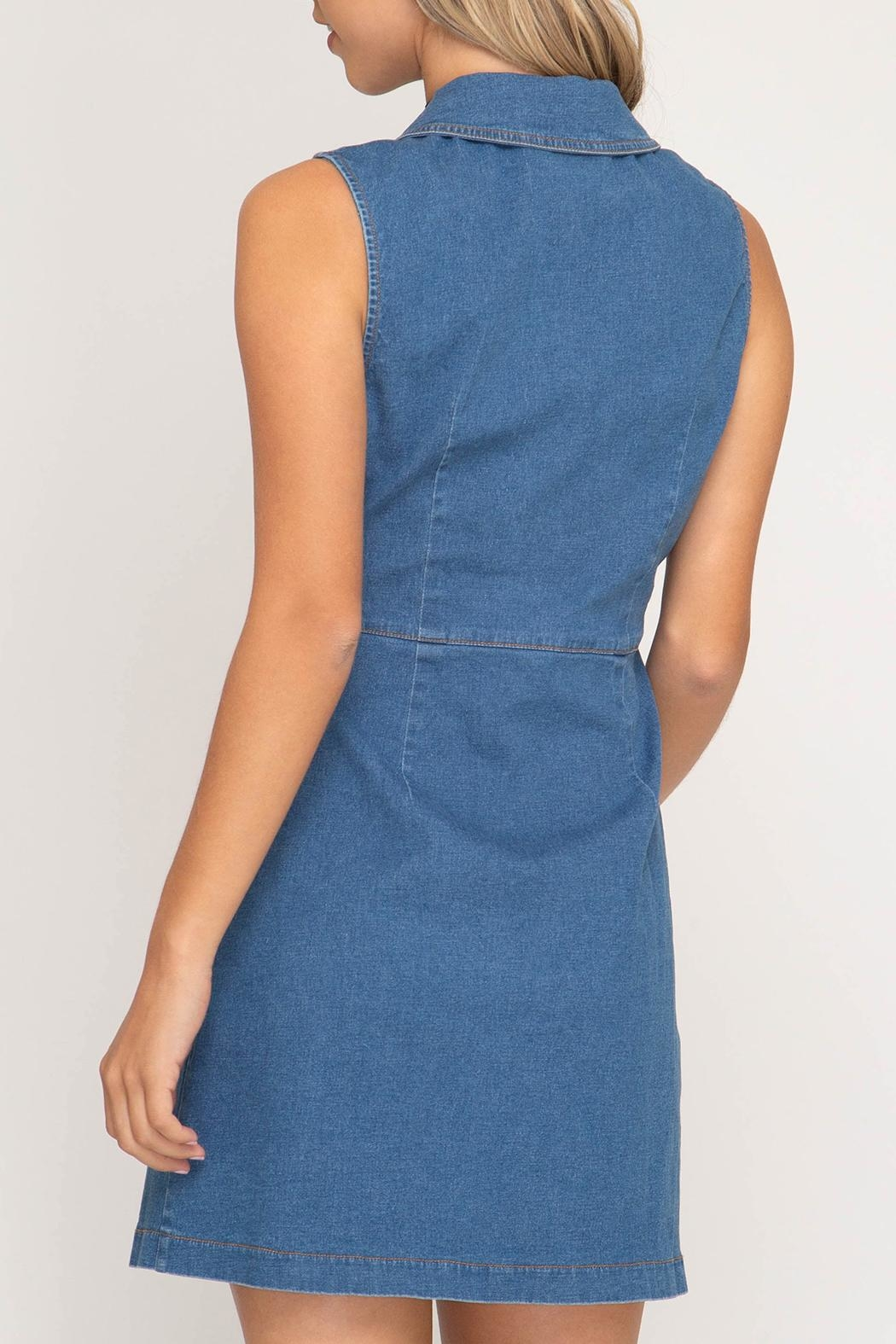 She + Sky Denim Button-Front Dress - Front Full Image
