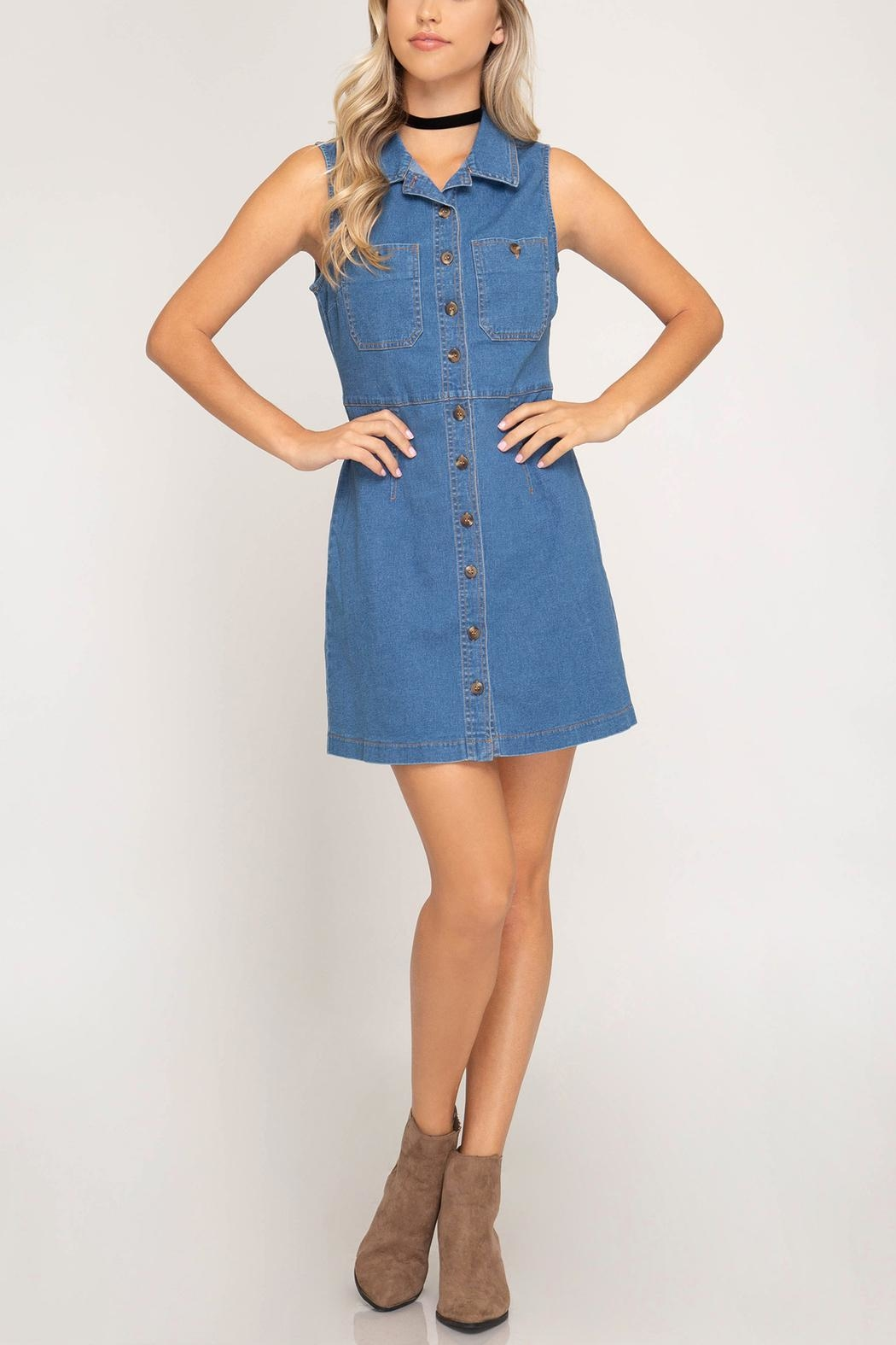 She + Sky Denim Button-Front Dress - Back Cropped Image