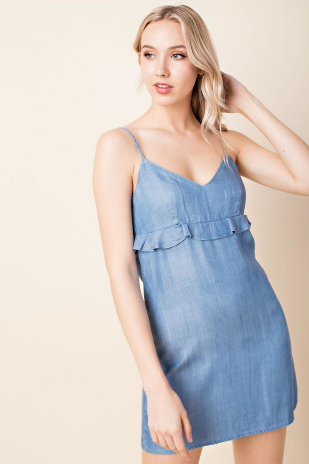 Wild Honey Denim Casual Dress - Front Cropped Image