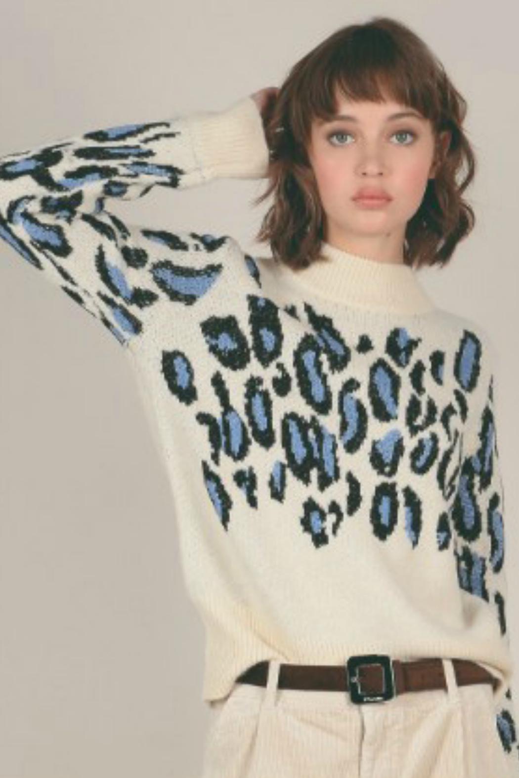 Molly Bracken Denim Cheetah Contrast Sweater - Front Cropped Image