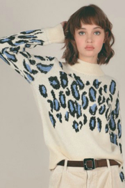 Molly Bracken Denim Cheetah Contrast Sweater - Product Mini Image