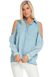 Skies Are Blue Denim Cold-Shoulder Top - Product Mini Image