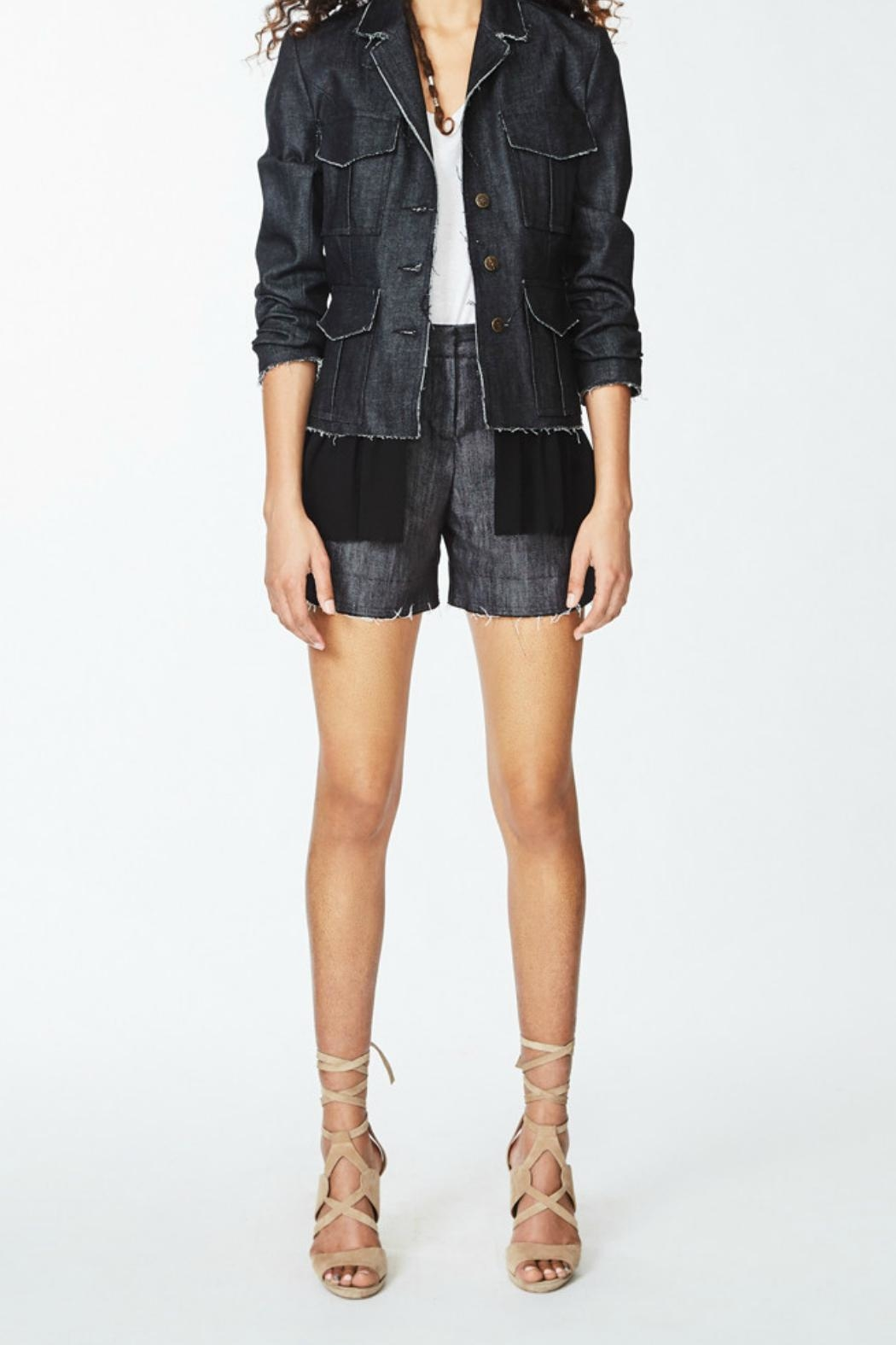 Nicole Miller Denim Combo Jacket - Back Cropped Image