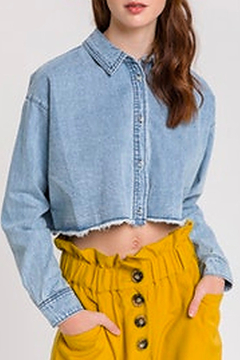 After Market Denim Crop Top - Product List Image