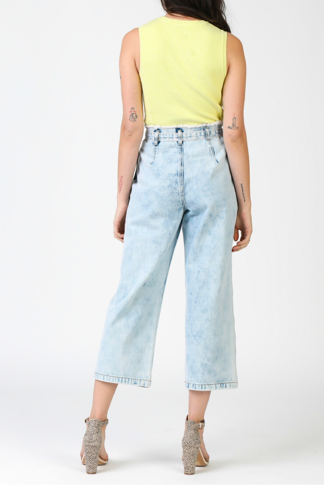 Current Air Denim cropped pants with waist tie - Front Full Image