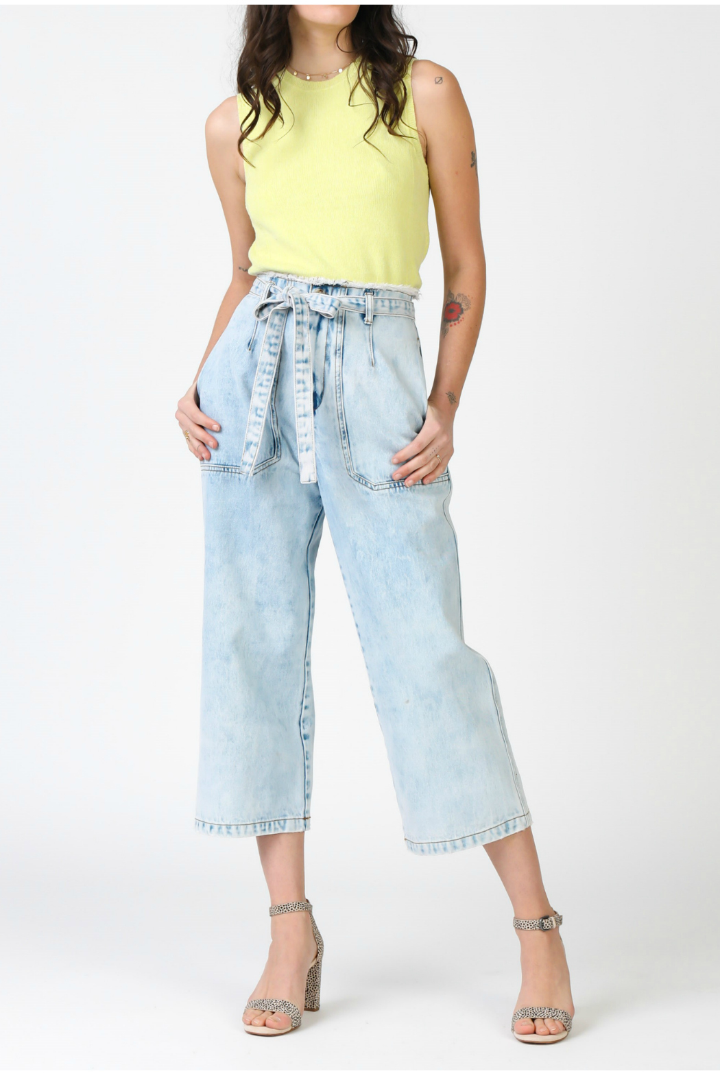 Current Air Denim cropped pants with waist tie - Main Image