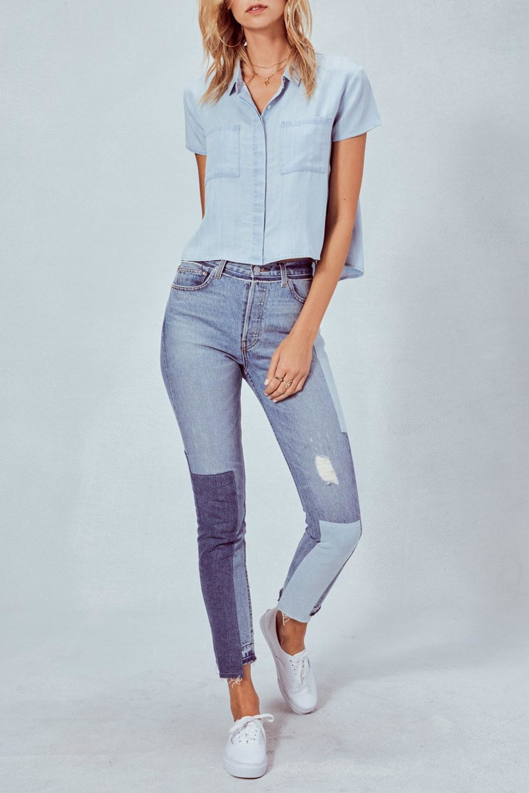 Lovestitch Denim Cropped Shirt - Front Full Image