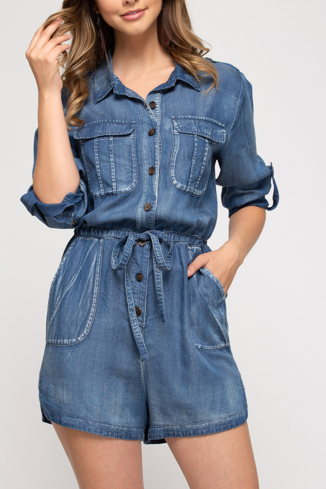 She and Sky Denim Darling romper - Front Cropped Image