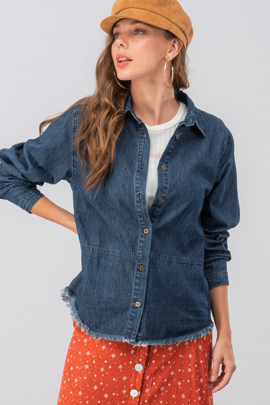 Trend:notes DENIM DISTRESSED TOP - Main Image