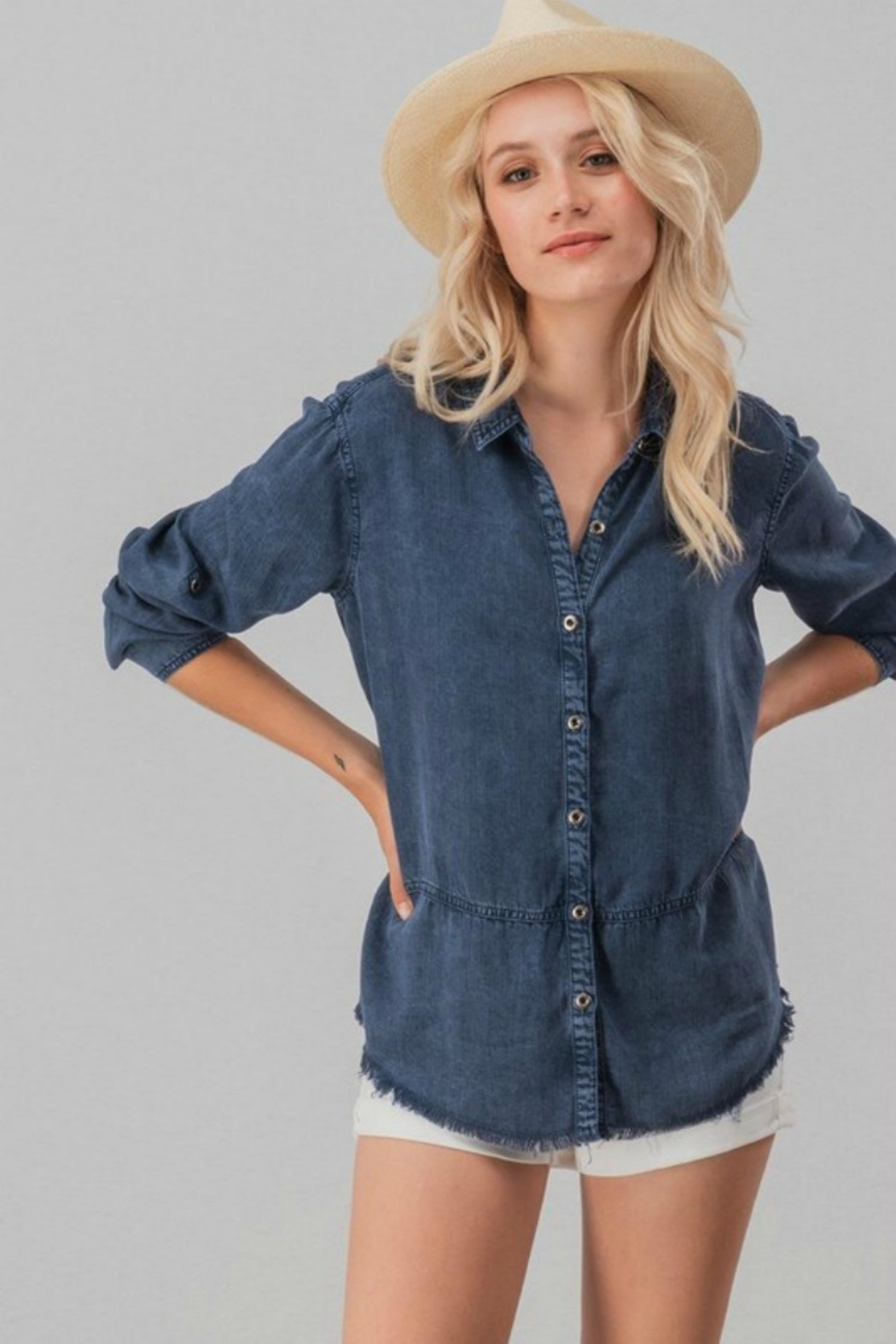 Trend:notes DENIM DISTRESSED TOP - Side Cropped Image