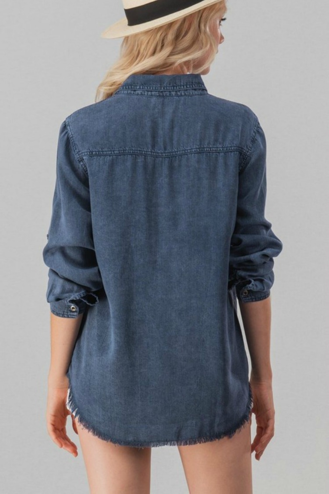 Trend:notes DENIM DISTRESSED TOP - Front Full Image