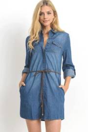 C'Est Toi Denim Dress with Pockets and Belt - Product Mini Image