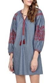 Joy Joy Denim Embroidered Dress - Product Mini Image