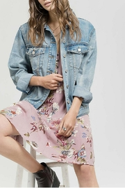 Blu Pepper Denim Embroidered Jacket - Product Mini Image