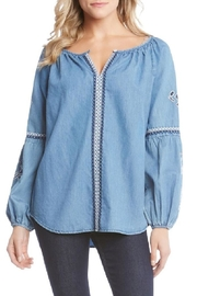 Karen Kane Denim Embroidered Top - Product Mini Image