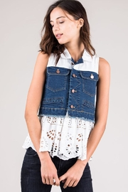 Tea & Cup Denim Eyelet Top - Product Mini Image