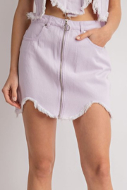 Le Lis Denim Frayed Hem Mini Skirt - Product Mini Image