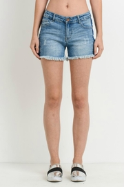 Black Label Denim Frayed Shorts - Front cropped