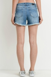 Black Label Denim Frayed Shorts - Front full body