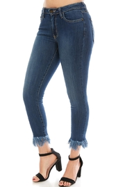 just black Denim Fringe Bottom - Front full body