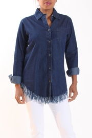 Talk of the Walk Denim Fringe Button-Down - Front cropped