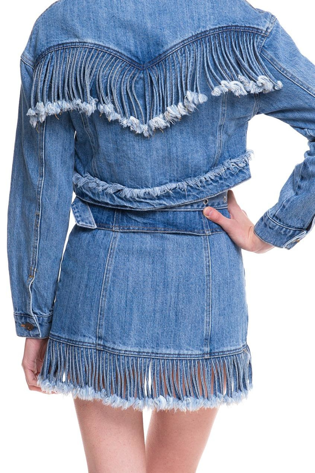 Wild Honey Denim Fringe Skirt - Side Cropped Image