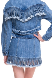 Wild Honey Denim Fringe Skirt - Side cropped