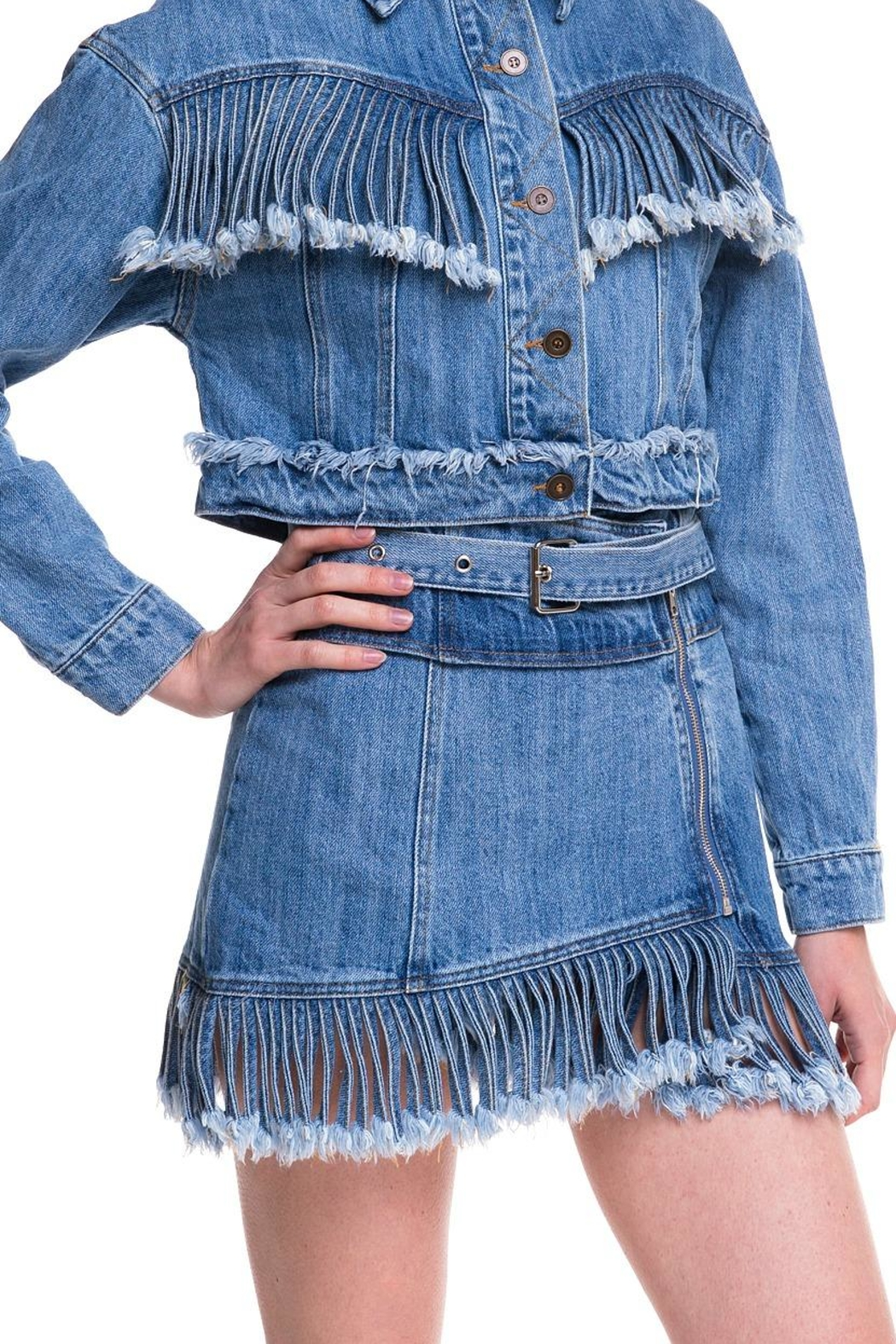 Wild Honey Denim Fringe Skirt - Front Full Image