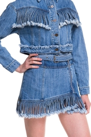 Wild Honey Denim Fringe Skirt - Front full body