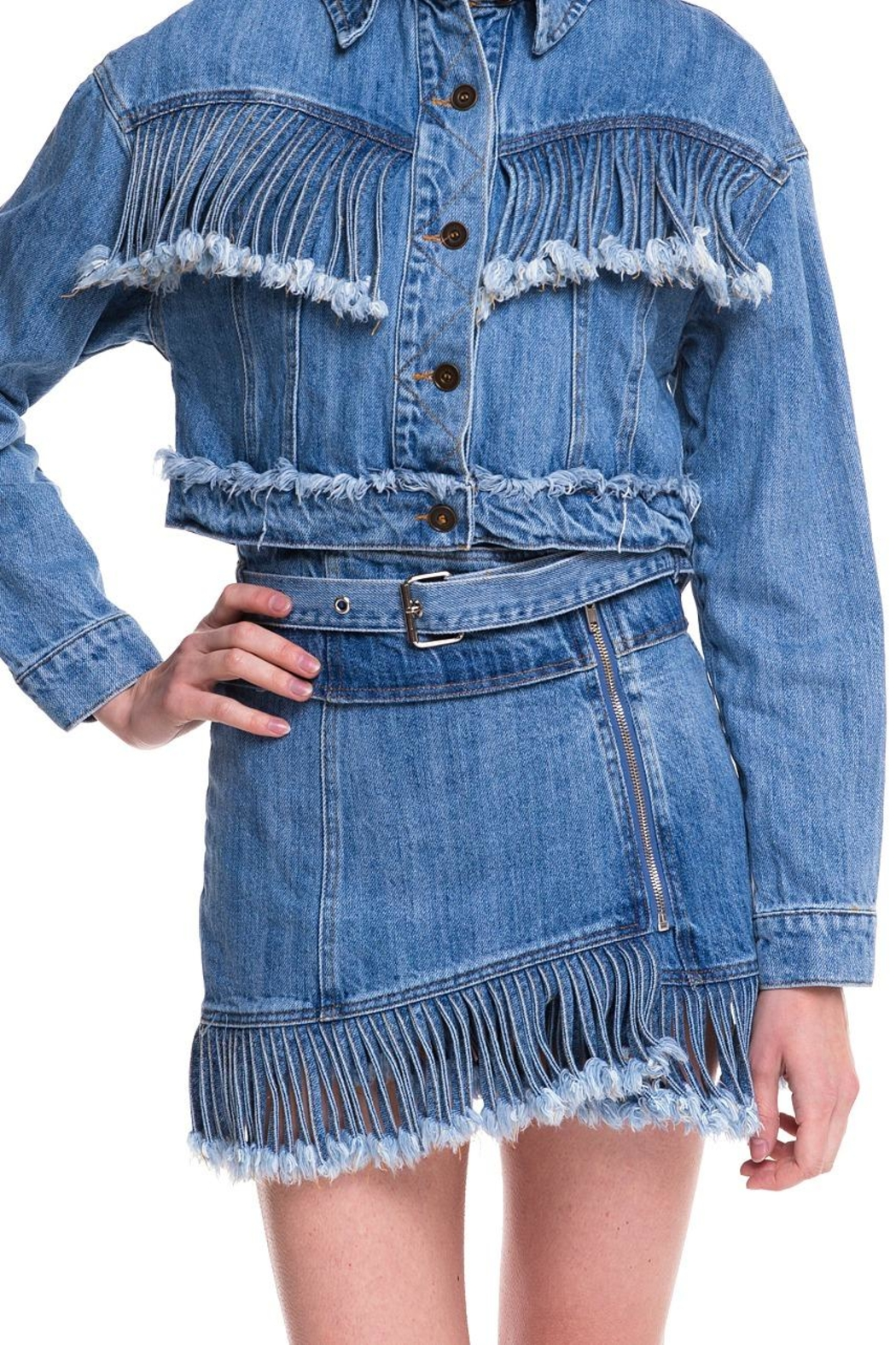 Wild Honey Denim Fringe Skirt - Main Image