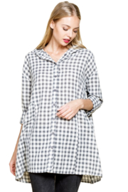 Mittoshop Charcoal Gingham Blouse - Product Mini Image