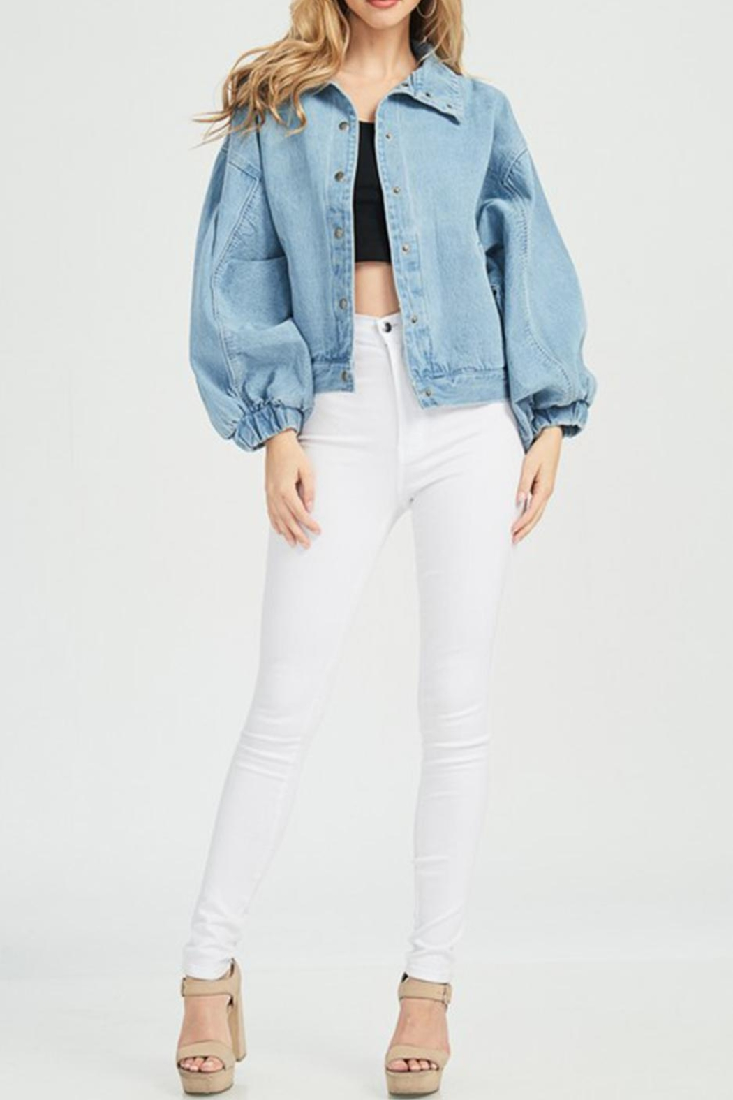 Hello Miss Denim Jacket - Front Cropped Image