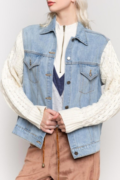 Pol Clothing Denim Jacket Sweater Sleeve - Product List Image