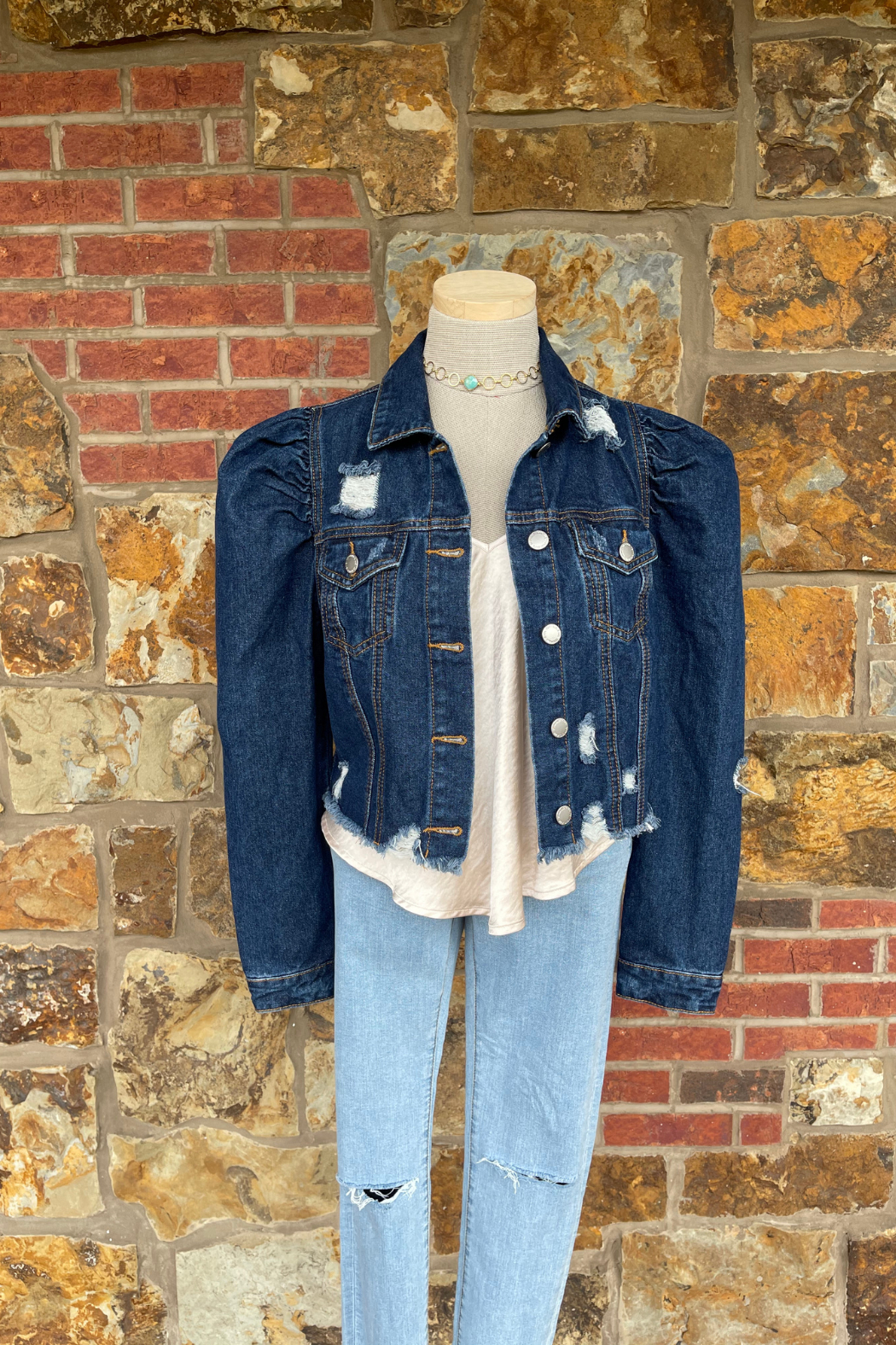 Soulstice Sky Denim Jacket w Light Pink Lips & Puff Sleeves - Front Full Image