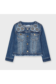 Mayoral Denim Jacket With Applique - Front cropped