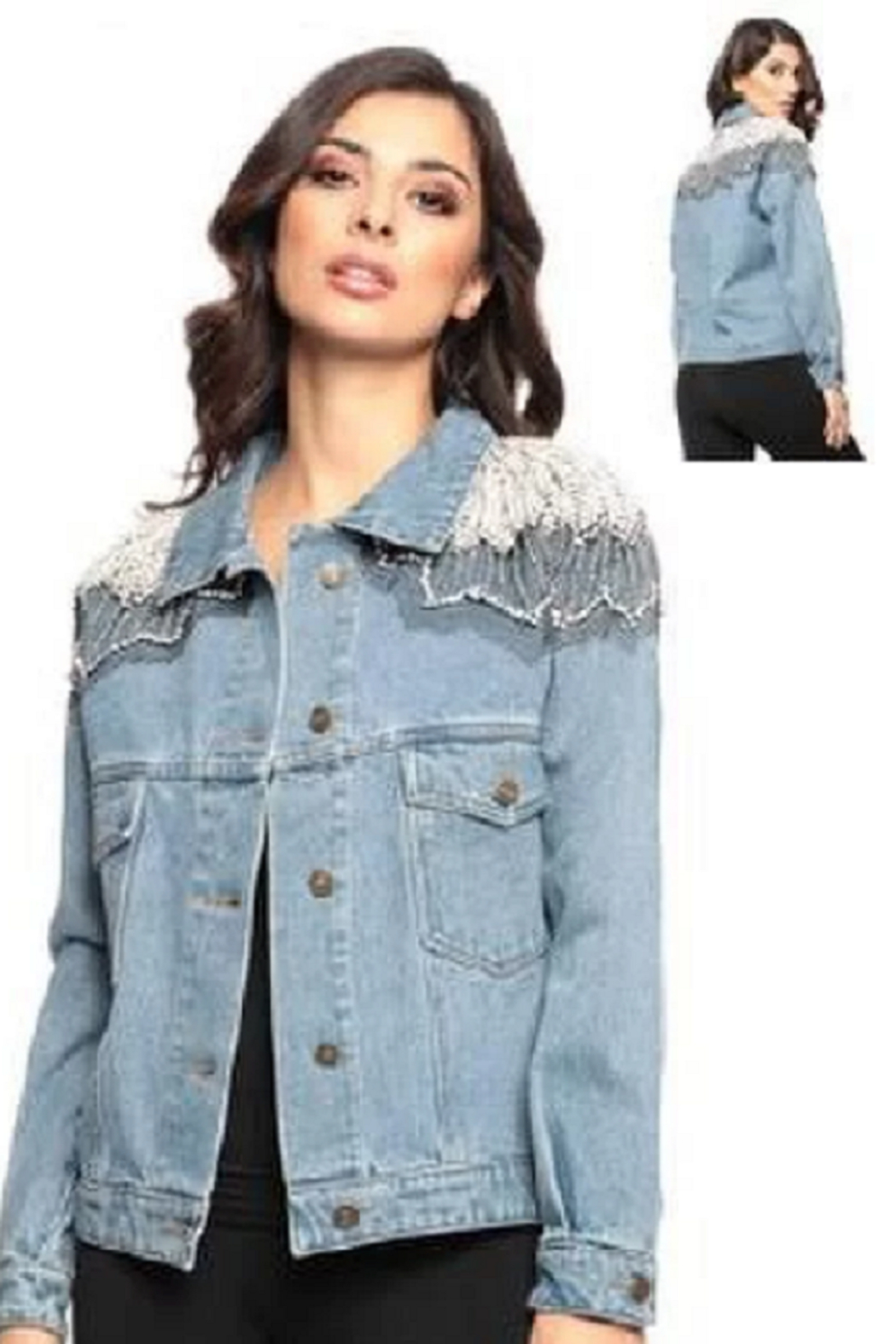 Adore Denim Jacket with Embellishments - Front Full Image