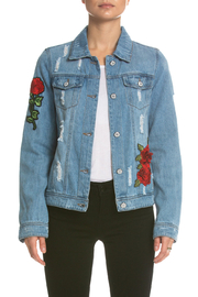 Elan Denim Jacket with Rose Applique - Product Mini Image