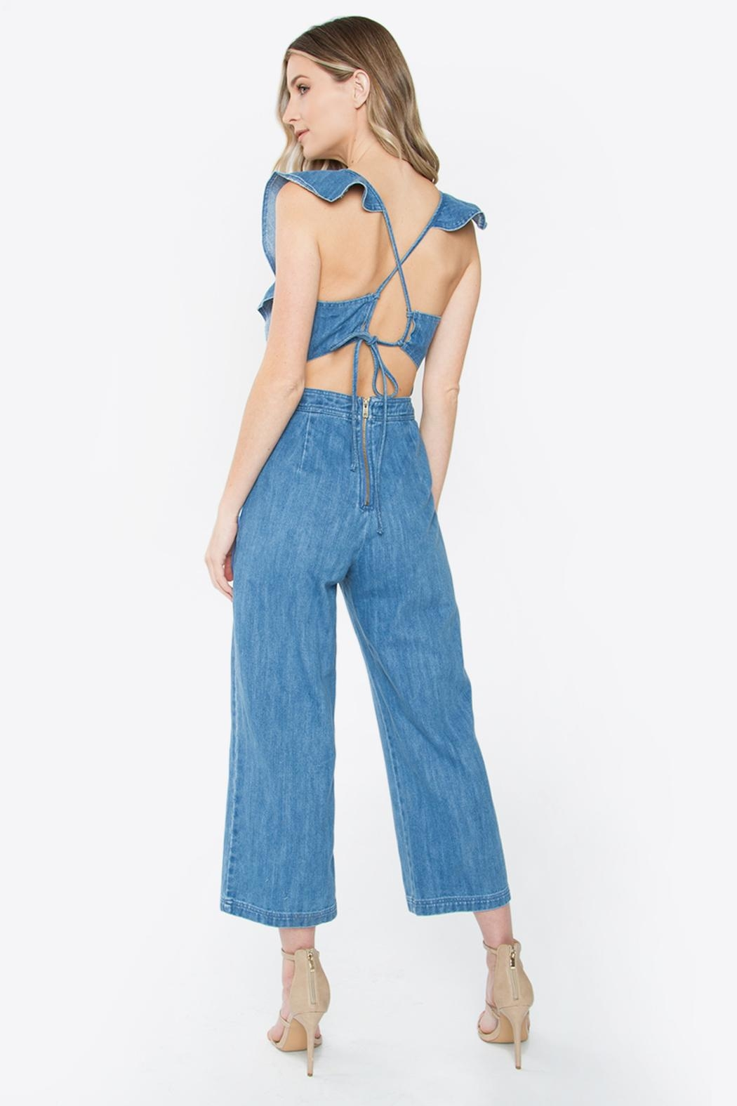 Sugar Lips Denim Jumpsuit - Front Full Image
